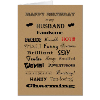 Husband Happy Birthday Words of Praise Greeting Card