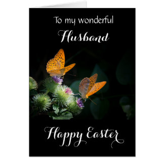 Husband / Happy Easter - Fritillary Butterflies Card