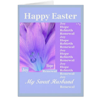 HUSBAND - Happy Easter with Lily - Purple Blue Cards