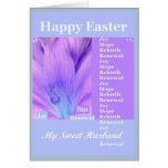 HUSBAND - Happy Easter with Lily - Purple & Blue Greeting Card