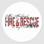 Husband Hero - Fire & Rescue Round Stickers