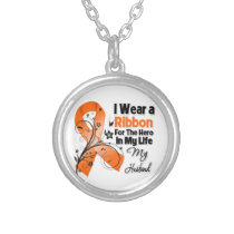 Husband Hero in My Life Leukemia Silver Plated Necklace