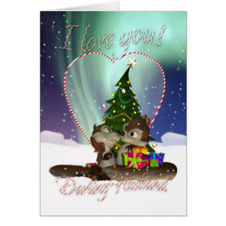Husband I Love You Christmas Card With Loving Squi