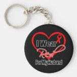 Husband - I Wear a Red Heart Ribbon Basic Round Button Keychain