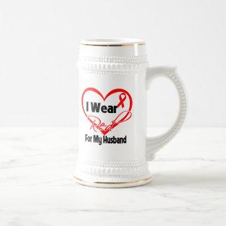 Husband - I Wear a Red Heart Ribbon Mugs