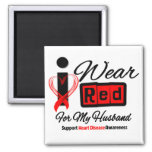 Husband  -  I Wear Red Ribbon Heart Disease 2 Inch Square Magnet