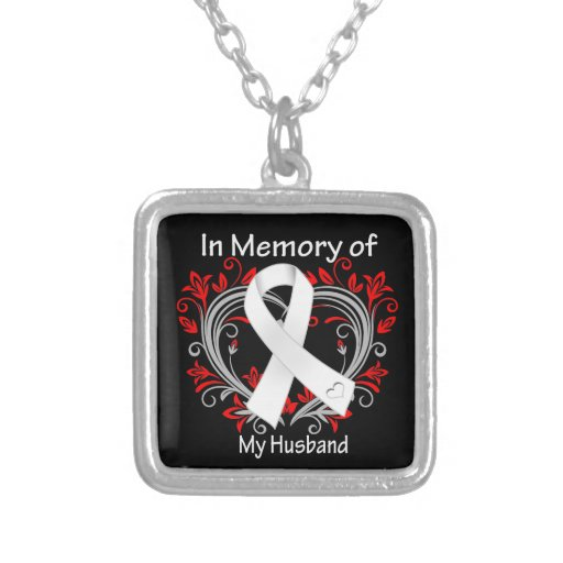 Husband - In Memory Lung Cancer Heart Custom Necklace