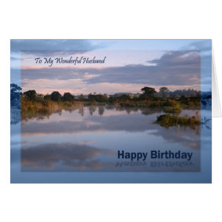Husband, Lake at dawn Birthday card