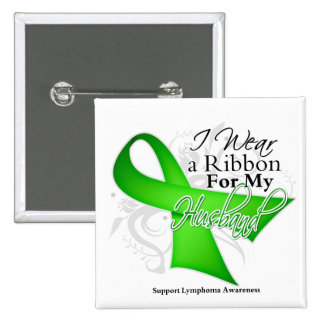 Husband Lime Green Ribbon - Lymphoma 2 Inch Square Button
