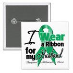 Husband - Liver Cancer Ribbon.png Pinback Button