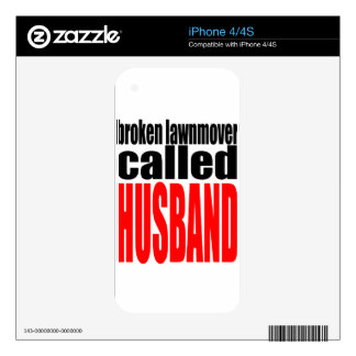 husband marriage joke lawnmover newlywed reality q decal for iPhone 4