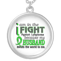 Husband Means The World To Me Lymphoma Silver Plated Necklace