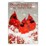 Husband, Oil Painted Red Cardinals In Winter Card