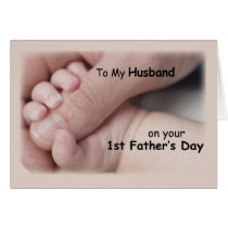 Husband on First Father's Day, Baby Hands Holding Card