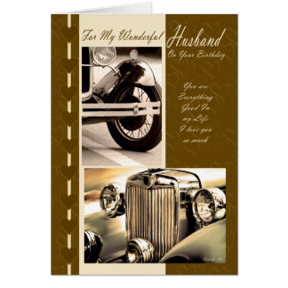 Husband On Your Birthday vintage cars Card