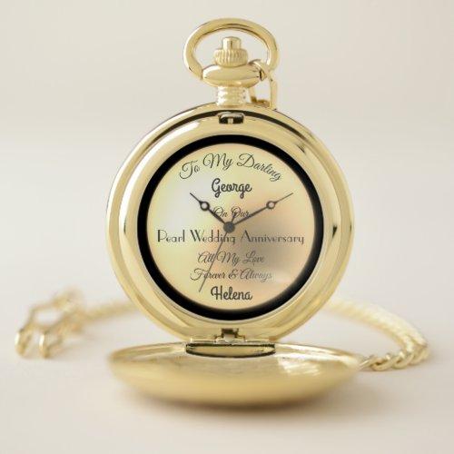 Husband Pearl Wedding Anniversary Pocket Watch