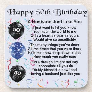 Husband Poem - 50th Birthday Beverage Coaster