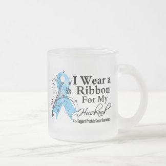 Husband Prostate Cancer Ribbon 10 Oz Frosted Glass Coffee Mug