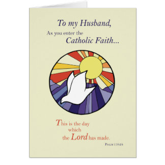 Husband RCIA Catholic Dove Sun Circle, Rite of Chr Card