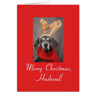 Husband reindeer pointer merry x-mas card