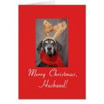 Husband reindeer pointer merry x-mas greeting card