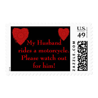 Husband rides a Motorcycle, watch out for him Postage Stamp