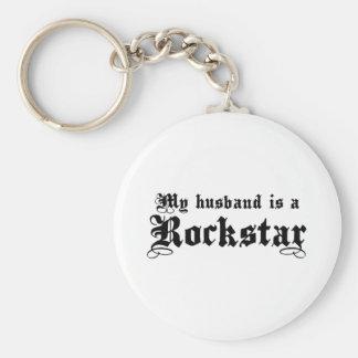 Husband Rockstar Basic Round Button Keychain