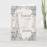 """Husband Romantic 50th Birthday Eiffel Tower Card<br><div class=""""desc"""">Romantic card for husband's 50th birthday has a blue and gray floral border,  a sketch of the Eiffel Tower and a subtle 50 in the background. Designed by Simply Put by Robin; elements from The Hungry Jpeg.</div>"""