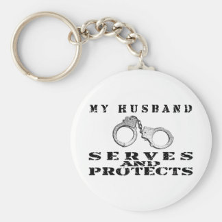 Husband Serves Protects - Cuffs Keychain