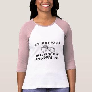Husband Serves Protects - Cuffs T-Shirt