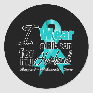 Husband - Teal Awareness Ribbon Classic Round Sticker