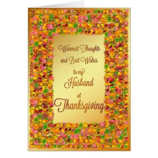 Husband Thanksgiving fall leaves Greeting Card