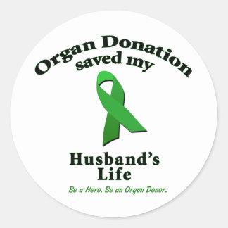 Husband Transplant Round Stickers