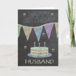 "Husband Trendy Chalk Board Effect, Birthday Cake Card<br><div class=""desc"">Husband Trendy Chalk Board Effect,  With Birthday Cake</div>"
