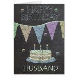 Husband Trendy Chalk Board Effect, Birthday Cake Greeting Card
