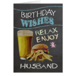 Husband Trendy Chalk Board Effect, With Beer Greeting Cards