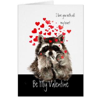 Husband Valentine Love Fun Raccoon Blowing Kisses Card