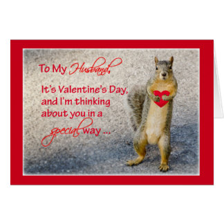 Husband Valentine Squirrel, with Heart Card