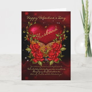 Husband, Valentine's Day Card With Heart And Roses
