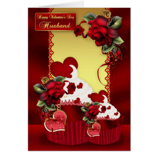 Husband Valentine's Day Cupcake And Rose Card