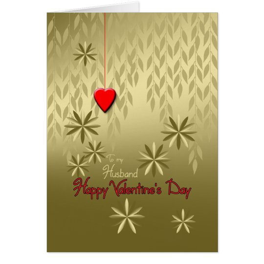 Husband Valentine's Day Gold Leaves Red Heart Card