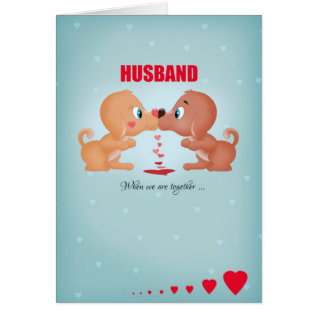 Husband Valentine's Day Kissing Dogs And Hearts Card at Zazzle