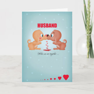 Husband Valentine's Day Kissing Dogs And Hearts Holiday Card
