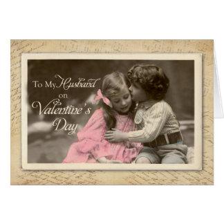Husband Valentine's Day, Vintage Sweet Kiss Card