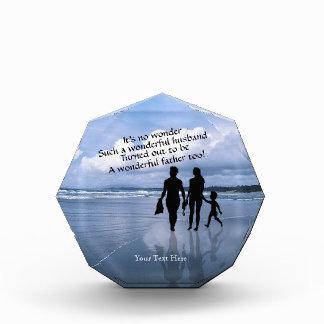 Husband, Wife and Child Enjoy Beach Acrylic Award