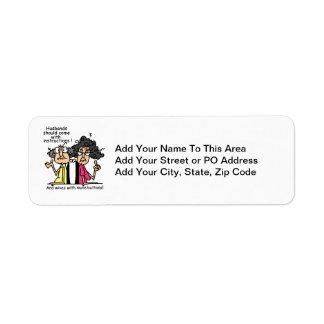 Husbands and Wives Attitude Humor Return Address Label