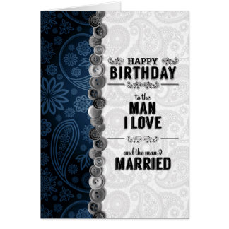 Husband's Birthday for Gay Marriage in Blue Card