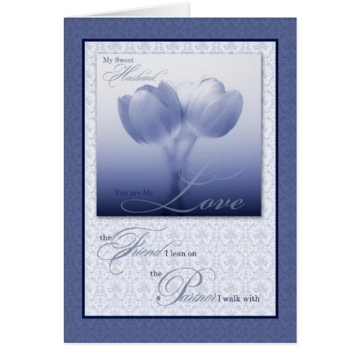 Husband's Birthday Sentimental Blue Tulips Greeting Card