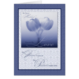Husband's Birthday Sentimental Blue Tulips Greeting Card