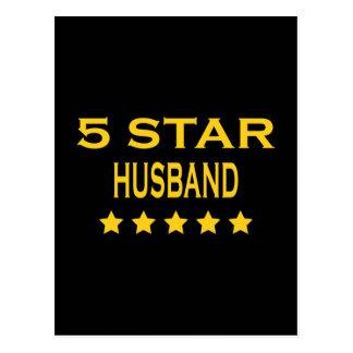 Husbands Birthdays Valentines : Five Star Husband Postcard